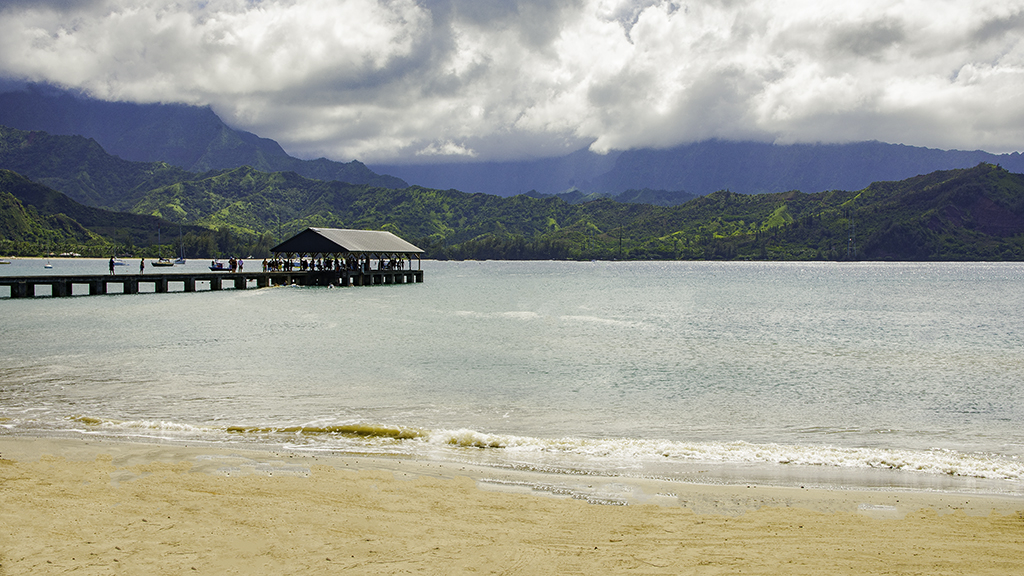 Hanalei Bay can be seen by many Kauai hotels at Princeville.
