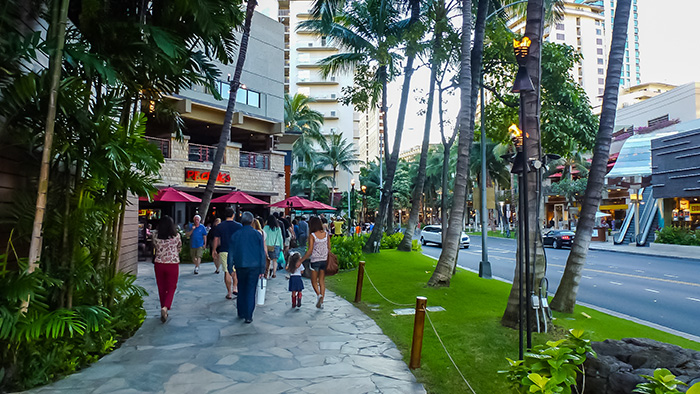 Street scene in Waikiki, the heart of Restaurant Week Hawaii in November of each year.