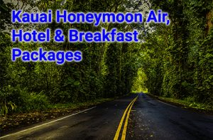 Kauai honeymoon air, hotel and breakfast packages start at $730 per person, double occupancy.