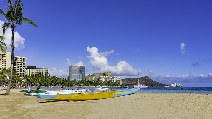 Wakiki, one of the places to see while visiting Honolulu.
