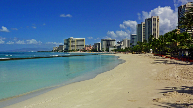 Waikiki Beach, where most travelers come when they visit Hawaii.