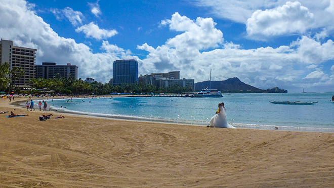 Hawaiian wedding scene on Waikiki Beach.