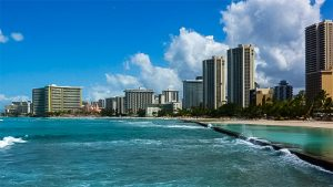 Waikiki, the home of many Hawaii resorts.