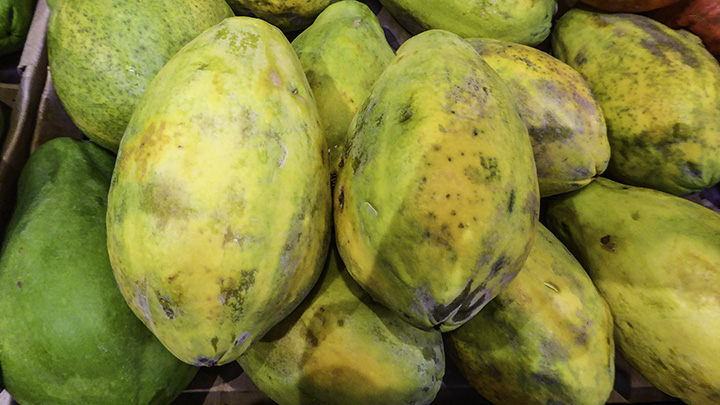 Papayas from farmers markets on Molokai.