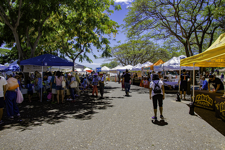 Shopping at farmers markets on Oahu.