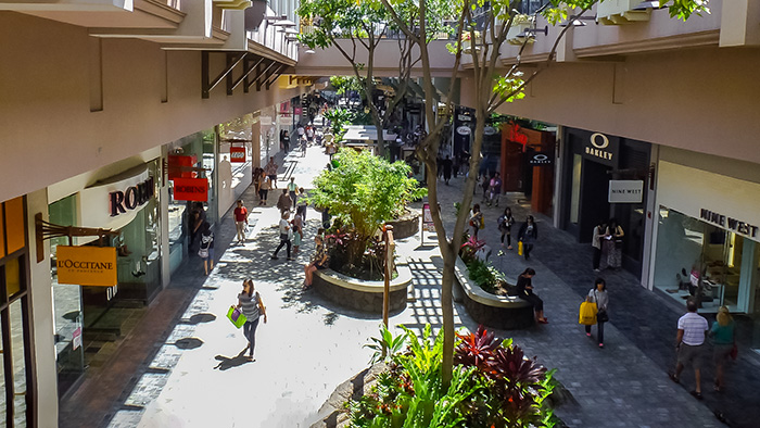Ala Moana, one of the best places to go shopping on Oahu.