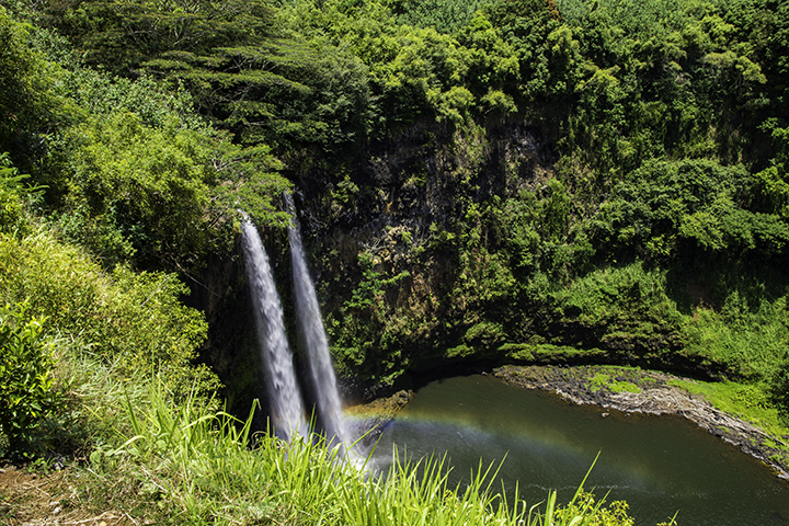 Viewing Wailua Falls, another one of the top things to do on Kauai.