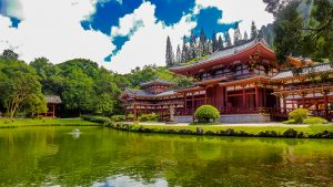 The Byodo-In Temple one of the beautiful attreacations on Oahu.
