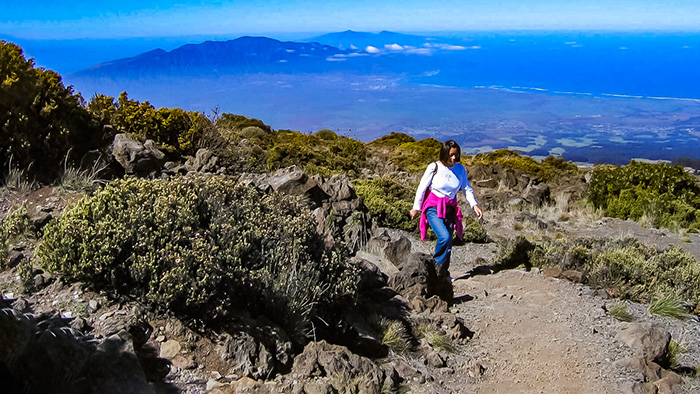 Hiking on Haleakala, one of the things to do when you plan a solo trip to Hawaii.