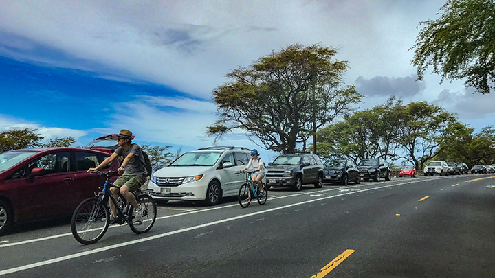 Biking in Hawaii.